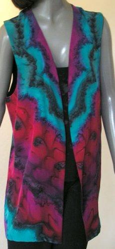 Long Reversible Vest Hand Painted Silk in Crepe de Chine Silk - Art On Silk Fashion by Jossiani