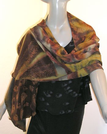 SPECIAL ORDERS ONLY - Silk Stole Shawl Scarf, Chocolate, Curry, Sage, Gold, Saffron, JOSSIANI