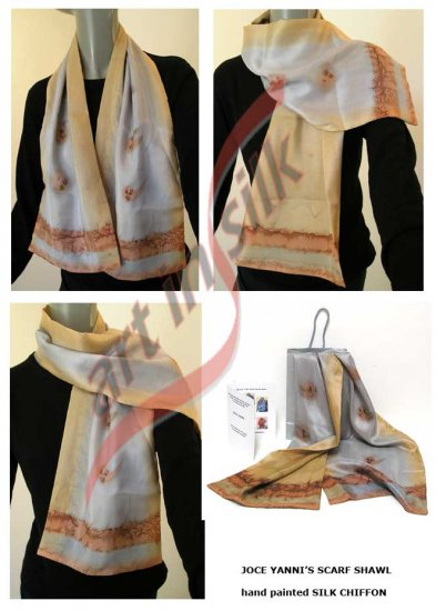 Hand Painted Silk, Earth Colors scarf, one of a kind signed scarf. Made to Order Jossiani creation.