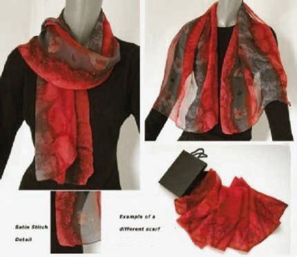 Brush Dyed Hand Painted Silk Chiffon Scarf Grey Red Garnet, by Jossiani
