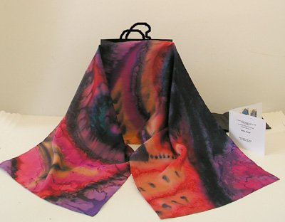 Hand Painted Silk, Multicolor scarf, rainbow scarf, one of a kind. Made to Order Jossiani