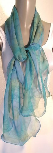 SPECIAL ORDERS ONLY Hand Painted Silk Scarf Jade Moss Sage Green, Aquamarine