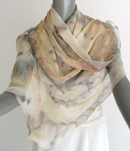 Hand Painted Silk Scarf Small Shawl, Sand, Tan, Light Browns, Iron Taupe Sage accents, by Jossiani