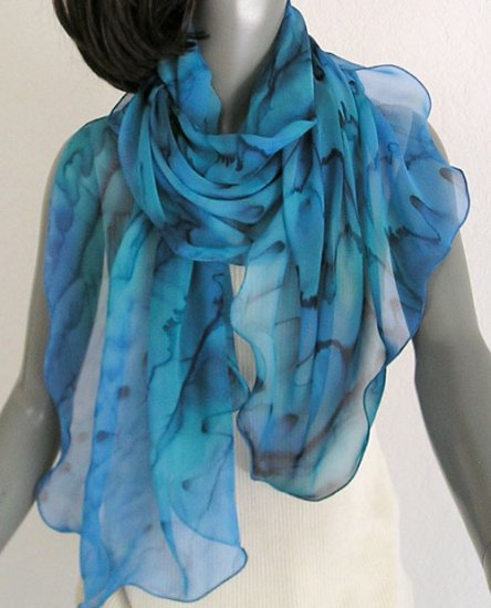 Turquoise Wrap, French Blues, Hand Painted Silk Chiffon Shawl, Wrap, Something Blue,  by Jossiani