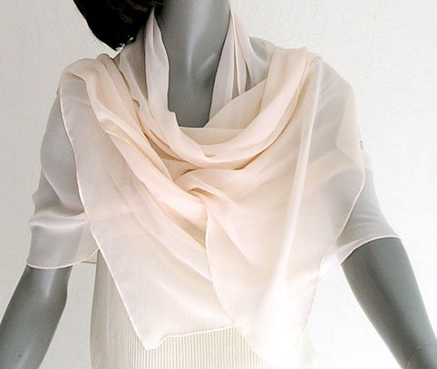 Light Powder Pink Wrap Scarf Chiffon Shawl, Hand Hemmed, ARTINSILK