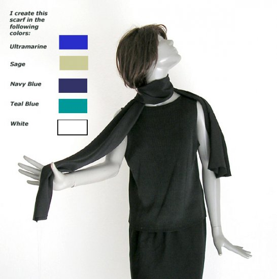 "Long Black Pure Silk Scarf Natural Crepe silk, Unisex Men Women 8"" X 70'."