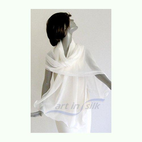 Natural White Shawl, Plus Size Bridal Wrap, Wedding Coverup, L XL, Pure Silk Chiffon, Large Shawl