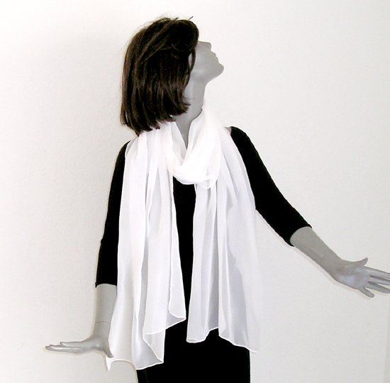 "Natural White Wrap Shawl Long Silk Chiffon Scarf Hand Hemmed 20"" x 76""."