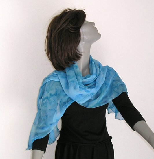 Unique Hand Painted Silk Scarf Light Cobalt Blue, French Blue,  OOAK by JOSSIANI