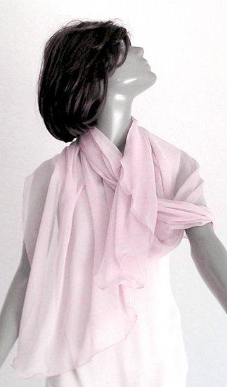 "LIGHT PINK Natural Silk Chiffon Bridal Evening Shawl Wrap, 88"" Long"