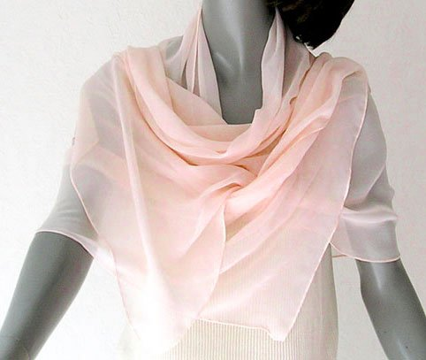 Cherry Blossom Pink Shawl Chiffon Wrap Stole, Unique Hand Dyed by Jossiani.