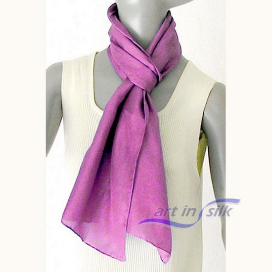 Pink Fuchsia Silk Scarf, orchid Pink, Habotai silk, Unique Individually Hand Dyed, Hem Hand Rolled,
