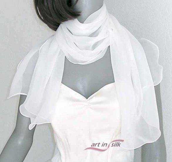 Natural White Scarf, Sheer Silk Chiffon Bridal Wrap, Off White Light Ivory