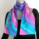 Hand Painted Silk Scarf Purple Pink Teal, Unique JOSSIANI silk creation
