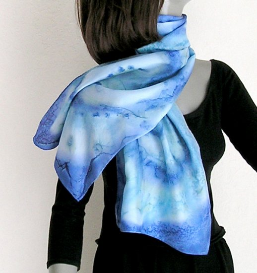 Light French Blue Scarf, Cobalt, Sage, Hand Painted Silk by JOSSIANI.