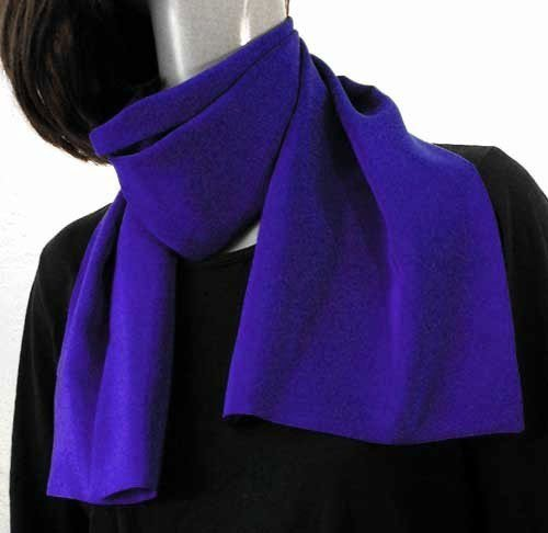Ultramarine Royal Blue Pure Silk Crepe Scarf, double layer, Unisex.