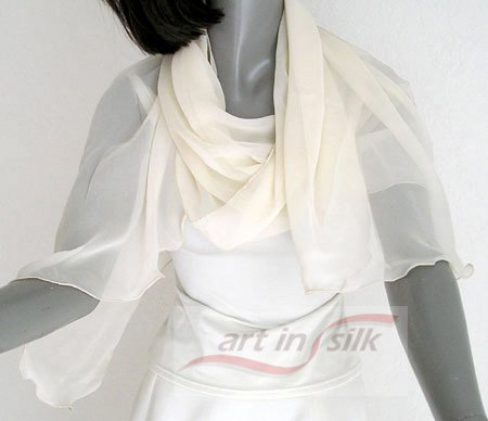 IVORY  Silk Chiffon Shawl Bridal Wrap, Cocktail Evening Stole 66in, ARTINSILK