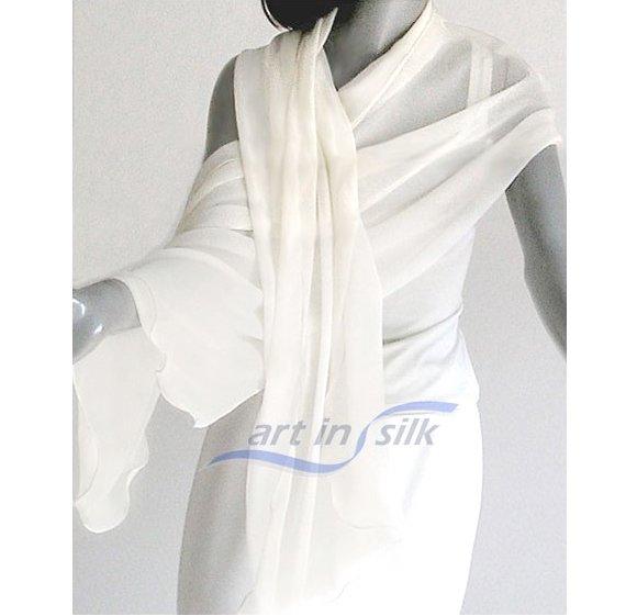 """White Bridal Shawl Wedding Wrap 100% Silk Chiffon 21"""" x 94"""""""