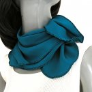 "Cerulean Teal Blue Scarf Crepe Pure Silk, Square 21"" x 21"""