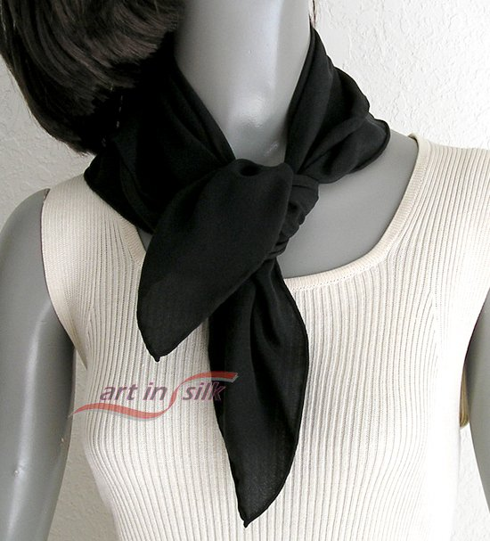 "Black Small Square Scarf Silk Crêpe  Hand Hemmed, Natural Pure Crepe Silk, 21"" x 21""."