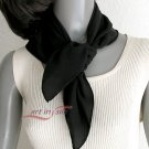 "Black Small Square Scarf Silk Crêpe  Hand Hemmed, Natural Pure Crepe Silk, 21"" x 21""."