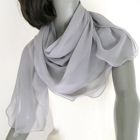 "Square Scarf Medium Silver Gray 42""X42"" Shawl Wrap 100% Silk Chiffon."