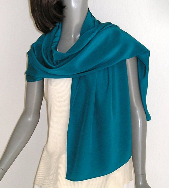 Teal Blue Shawl Wrap, Turquoise Coverup, Pure Silk Crepe, Evening Stole, Special Occasions Wrap.