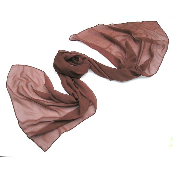 Dark Brown Red Marsala Shawl Wrap, Warm Auburn Silk Chiffon Stole, Hand Hemmed, Unique Hand Dyed.