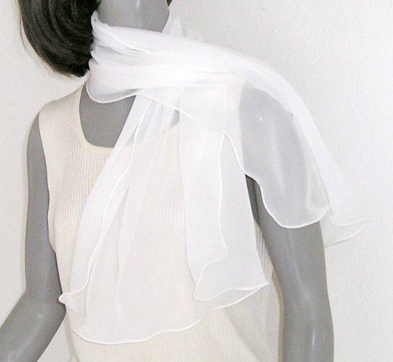 """White Chiffon Scarf Off White Natural Silk Chiffon Bridal, Light Ivory 20"""" x 42"""""""