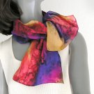 Neck Scarf Scarflette, Unique Hand Painted Silk Red Orange Pink, JOSSIANI