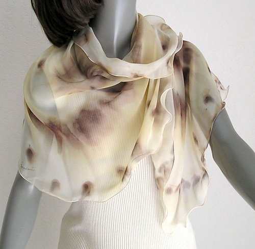 Unique Linen Brown Champagne Scarf, Earth Tones, Unique Hand Painted Silk, JOSSIANI.