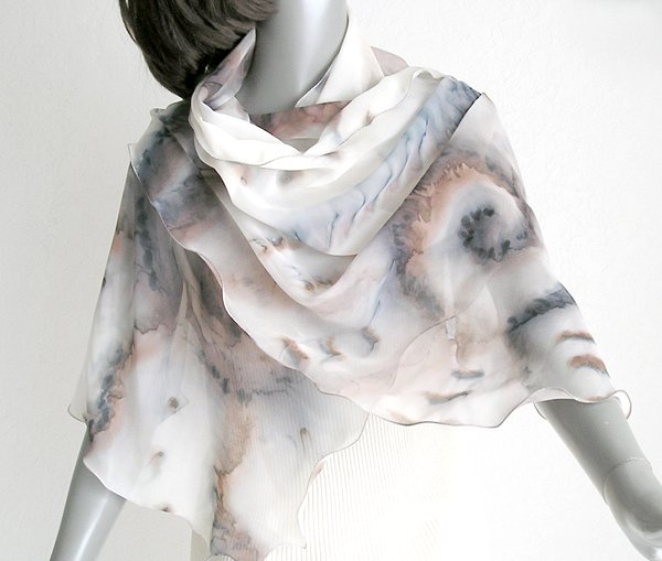 Hand Painted Silk Shawl, Chiffon Wrap, Sandstone Browns, Unique Wrap by Jossiani, Made to Order.