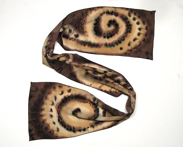 Long Hand Painted Silk Crepe Scarf, Brown Chocolate Black Cognac Rust Sand, JOSSIANI.