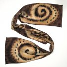 Long Hand Painted Silk Crepe Scarf, Brown Chocolate Black Cognac Rust Sand, JOSSIANI.