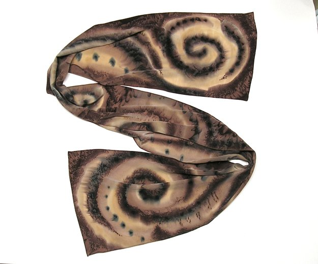 Hand Painted Silk Crepe Long Unique Scarf Brown Earth Tone, JOSSIANI.