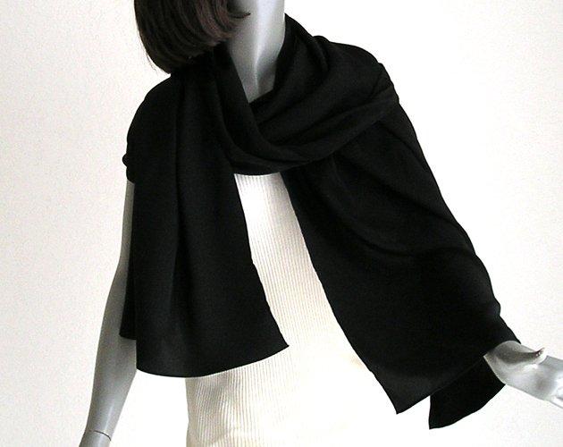 "Long Black Silk Shaw, Solid Black Wrap, 100% Silk Crepe, 21"" x 72"", M Medium L Large."