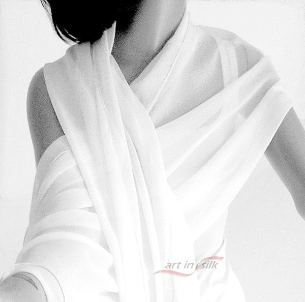 "Natural White BRIDAL Shawl Wrap Stole, Soft Pure White 100% Silk Chiffon, 21"" x 84""."