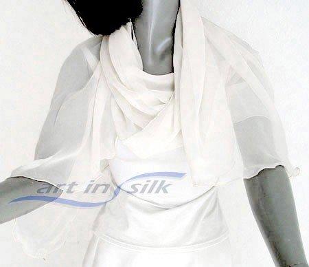"""White Silk Shawl, Bridal Wrap, Chiffon Coverup, Pure 100% Silk chiffon 21"""" x 64"""", S small, PETITE."""