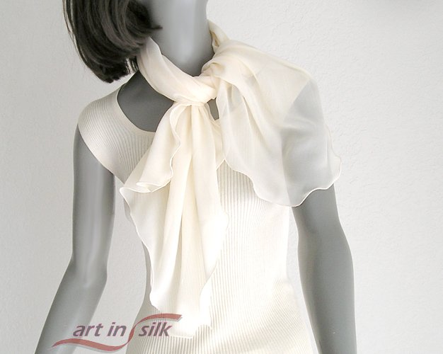 "Light Ivory Scarf 100% Silk Chiffon Large Scarf, Unique Hand Dyed  20"" x 40""."