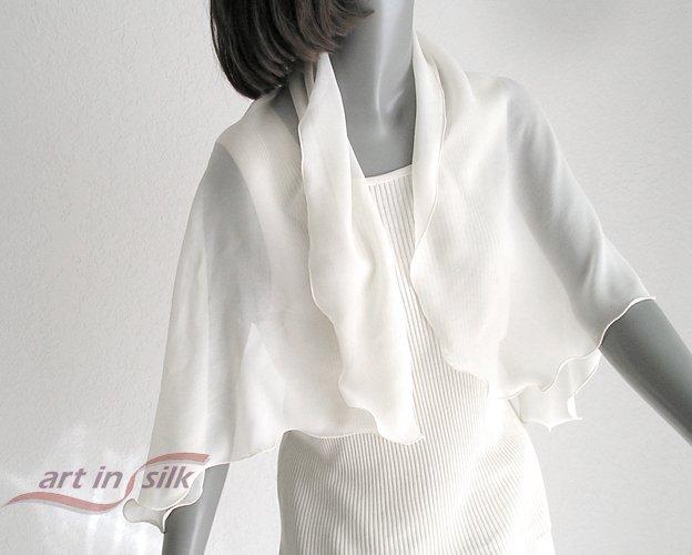 Natural White Silk Chiffon Scarf, Bridal Formal Evening, Artinsilk