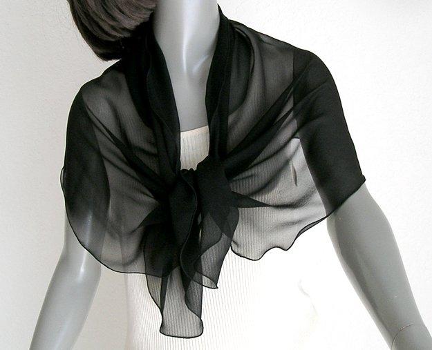 Black Silk Scarf Shoulder Wrap Pure Natural Silk Chiffon, Artisan Handmade, Artinsilk.