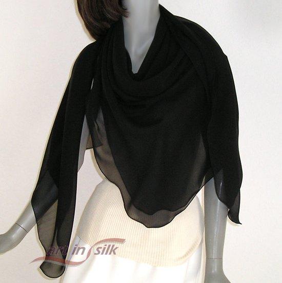 "Large Square Scarf, Silk Chiffon Shawl Wrap, 100% Silk 10mm., 53"" x 53"", Artisan Made."