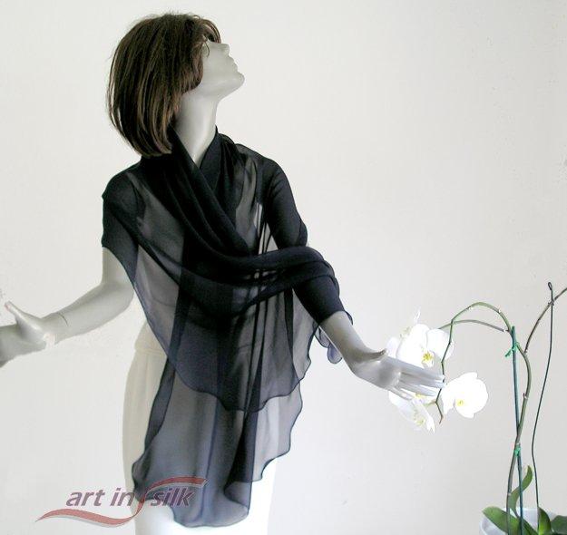 "Black Chiffon Shawl Long Sheer Wrap 100%  Pure Silk 10mm 21"" x 84""."