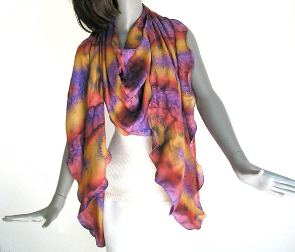 Hand Painted Silk Large Scarf Rust Copper Violet Ochre Purple, Unique Creation by JOSSIANI