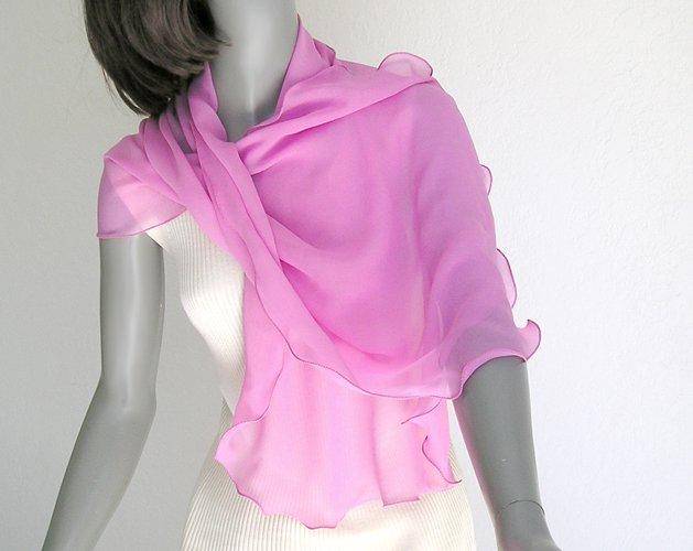 Fuchsia Magenta Pink Silk Scarf Natural Silk Chiffon, One of a Kind Artisan Handmade.