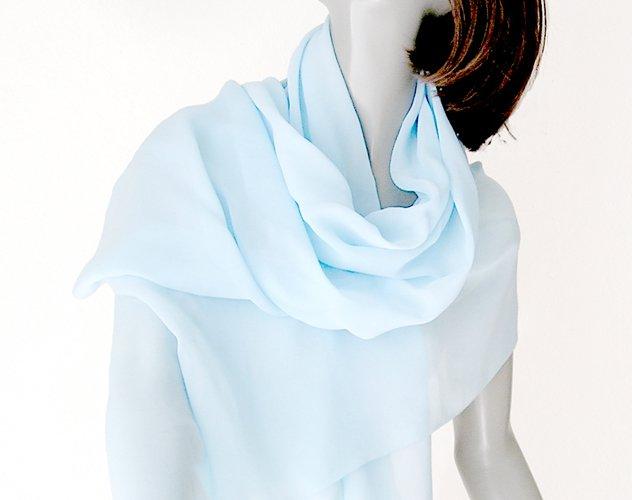 Light Sky Blue Shawl Wrap 100% Silk Chiffon 10mm Hand Dyed, One of a Kind, Artinsilk.