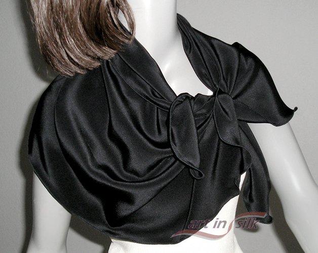 "Black Silk Crepe Scarf Natural 100% Silk, 16"" x 43"", Ready to Ship."