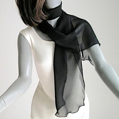 Black Long Scarf, Sheer Silk Sash, 100% Silk Natural Chiffon, Oblong Wavy Scarf, Artinsilk.