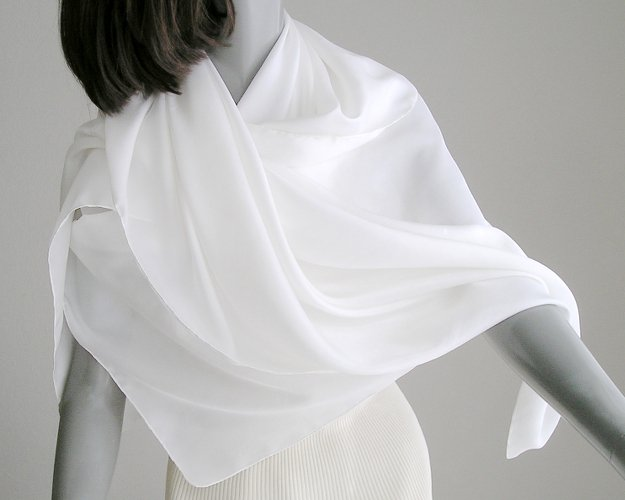 "Large White Scarf, Square Silk Scarf, Hand Hemmed Scarf, Natural White, 100% Silk Habotai, 45X45""."