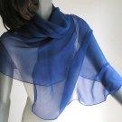 "Cobalt Medium Blue Shawl, Sapphire Navy Wrap Coverup, Natural Silk Chiffon, Small Petite 20x60""."
